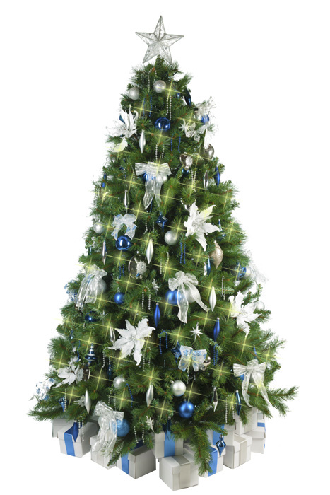Christmas tree with blue silver decorations for Blue decoration xmas tree