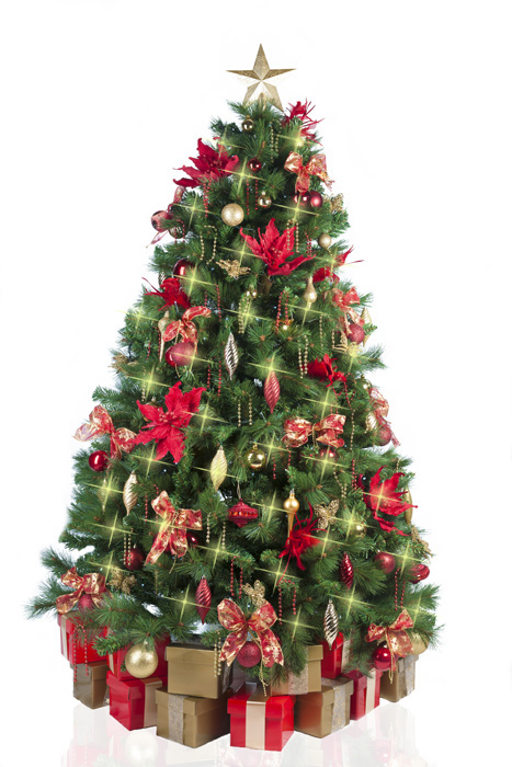 Christmas tree with red gold decorations for Gold christmas tree lights