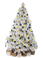 White Christmas Tree with Black & Gold Decorations