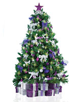 Christmas Tree with Purple and Silver Decorations