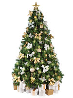 Christmas Tree with Gold and Silver Decorations