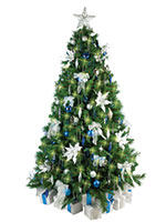 Christmas Tree with Blue and Silver Decorations