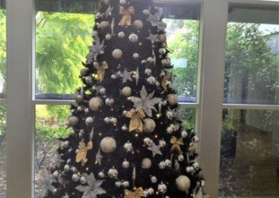 Black tree with gold & silver